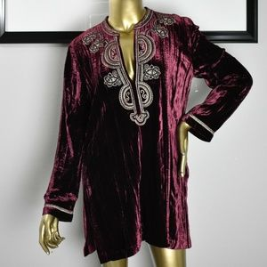 CHICO'S Maroon Velvet Beaded Embroidered Top Small